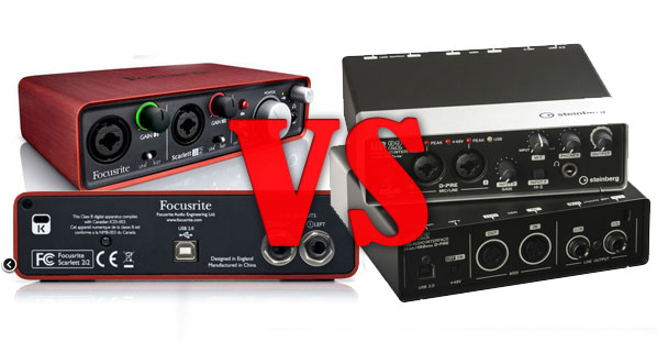 Steinberg UR22 vs Focusrite Scarlett 2i2. A short comparison.